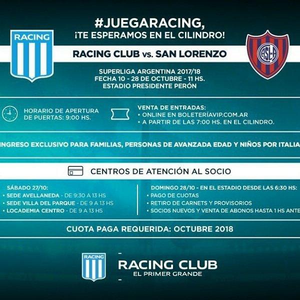 Venta de entradas para el clásico ante San Lorenzo - La Comu de Racing